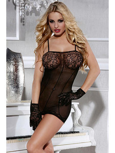 Sheer Chemise Lingerie Body Stocking With Lace Cup Design Equipped With Adjustable Shoulder Straps And Sheer Front And Back