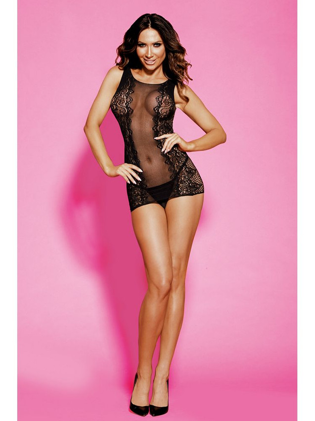 Risqué Chemise Lingerie Body Stocking With Round Neck Design Equipped With Sheer Front And Back With G String