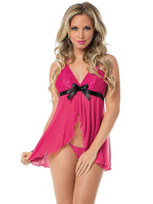 Pink Halter Neck Flyaway Babydoll Lingerie Equipped With Black Satin Bow