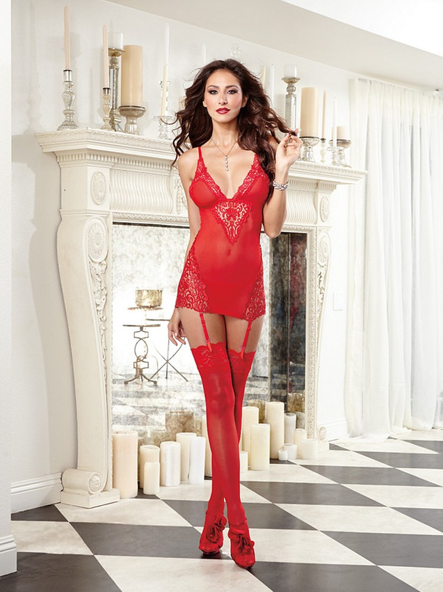 Sexy Red Chemise Garter Slip Lingerie Equipped With Spaghetti Straps, Lace Edge Details