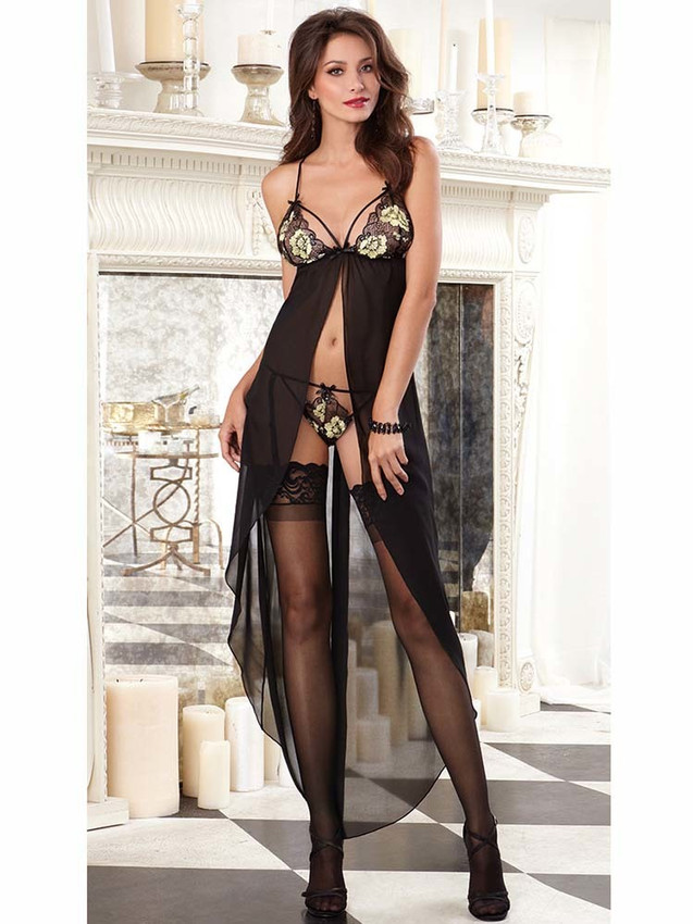 Intimate Sheer Flyaway Chemise Gown Lingerie With Floral Lace Cups And Adjustable Straps
