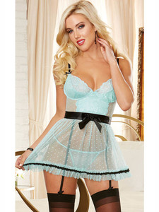 Gorgeous Apron Babydoll Lingerie With Satin Waist Bow Equipped With Removable Garter Slips And Hook And Eye Back Closure
