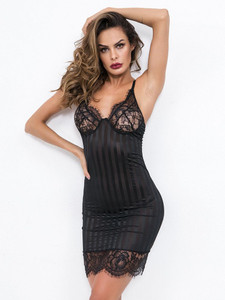 Sensational Subtle Striped Chemise Lingerie With Floral Trims Equipped With Adjustable Shoulder Straps And T String