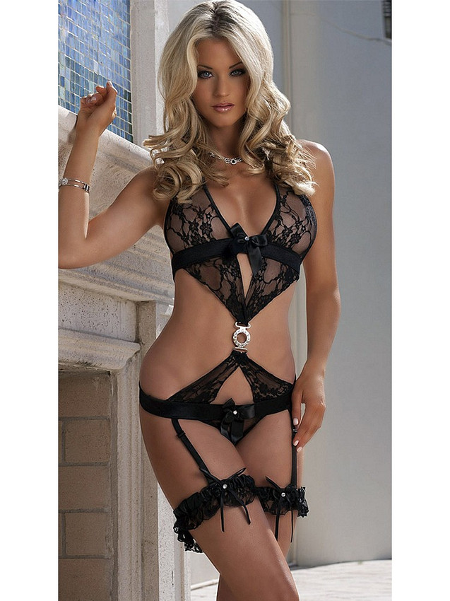 Black Lace Teddy Bodysuit Lingerie With Garters will spark the feeling of you being desired