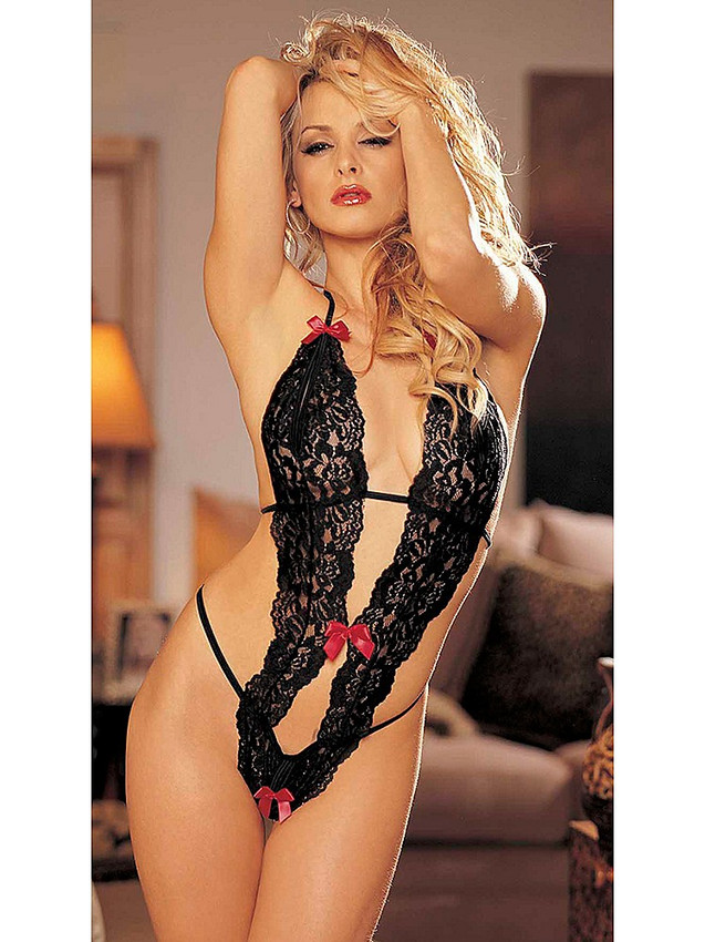 Black Halter Neck Lace Teddy Bodysuit Lingerie will spark the feeling of you being desired
