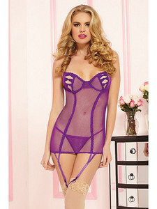 Purple Sheer Mesh Chemise Garter Slip Lingerie will help you create an undeniable presence