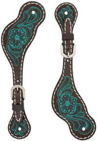 Western Brown Leather Hand Carved Spur Strap with Blue Paint  By Aledo Saddlery