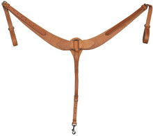 """Western Natural Leather Plain 2.5"""" Wide Breast Collar By Aledo Saddlery"""