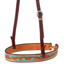 Western Hand Carved Blue Paint Inlay Noseband By Aledo Saddlery