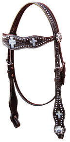 Western Black Leather Hand Tooled Silver Inlay Headstall By Aledo Saddlery