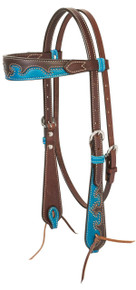 Western Blue Two Tone Set of Headstall and Breast Collar By Aledo Saddlery