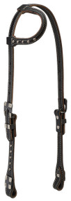 Western Back Leather One Ear Headstall with Silver Spot  By Aledo Saddlery
