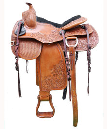 "western natural pleasure trail carved 16"" saddle"