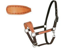 Western Natural Leather Hand Tooled Barbed Wire Bronc Halter By Aledo Saddlery