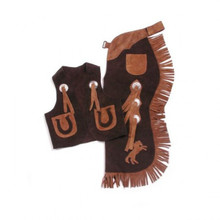 Western Set of Junior Chap and Rodeo Vest with Horse and Filigree By Aledo Saddlery
