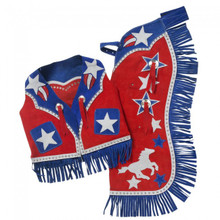 Western Set of Junior Chap and Rodeo Vest with Star and Filigree By Aledo Saddlery
