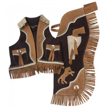 Western Set of Junior Chap and Rodeo Vest with Gun and Filigree By Aledo Saddlery