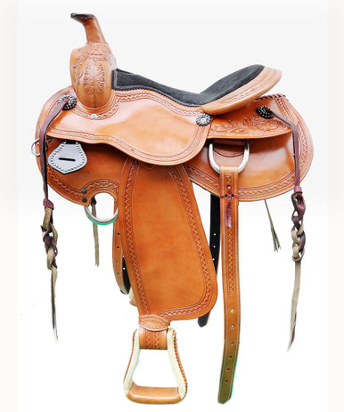 "western natural tan pleasure hand carved 16"" saddle"