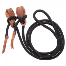 Western Black Nylon Rolled Roping Reins By Aledo Saddlery