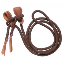 Western Brown Nylon Rolled Roping Reins By Aledo Saddlery