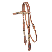 Western Natural Leather Browband Style Headstall with Rawhide Braiding & Spots By Aledo Saddlery