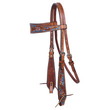 Western Natural leather Browband Style Hand Carved Hedstall By Aledo Saddlery