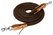 "Western Brown Nylon Rolled Roping Reins 96"" with Natural Leather Water Loop By Aledosaddlery"