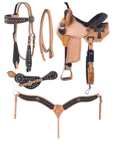 Western Natural Leather Hand Carved Barrel Racer with Tack By Aledo Saddlery
