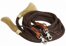 Western Brown Nylon Roping with Horse Tassel Reins By Aledo Saddlery