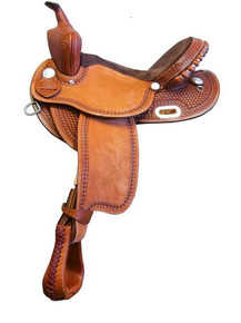 Western Natural Leather Hand Tooled Barrel Racer  By Aledo Saddlery
