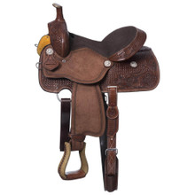 Western Brown Leather Rough Out Hand Carved Roping Ranch with Leather Strings By Aledo Saddlery