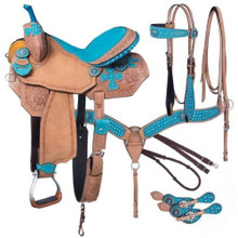 Western Natural Leather  Hand Tooled Barrel Racing with Free Tack  By Aledo Saddle