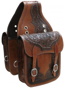 Western Brown Leather hand Carved Saddle Bag By Aledo Saddlery