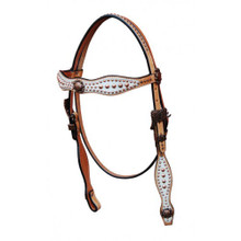 Western Natural Leather White Overlay Set of Headstall & Breast Collar with Dots By Aledo Saddlery