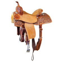 Western Natural Leather Hand carved Barrel Racer with Cinch  By Aledo Saddlery