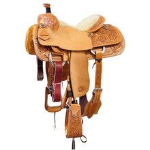 Western  Natural Leather Hand carved Roper Ranch with Cinch  By Aledo Saddlery