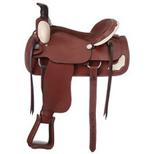 Western Mohagony Leather Roper Ranch Saddle with Hand  Carving  By Aledo Saddlery