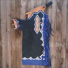 Western Black Top Grain Bull Riding Rodeo Chaps with BLue Fringes  By Aledo Saddlery