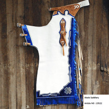 Western White Top Grain Bull Riding Rodeo Chaps with Royal Fringes  By Aledo Saddlery