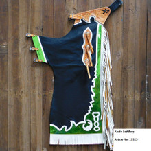 Western Black Top Grain Bull Riding Rodeo Chaps with WhiteFringes  By Aledo Saddlery