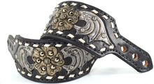 Western Black Hand Carved & Painted Spur Strap with WhiteBuckstitch By Aledo Saddlery