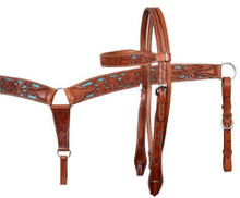 Western Brown Leather Green Inlay Set Of Headstall & Breast Collar  By Aledo Saddlery