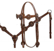 Western Brown Leather Set Of Headstall & Breast Collar with Dots  By Aledo Saddlery