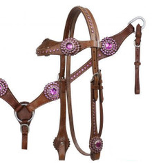 Western Brown Leather Set Of Headstall & Breast Collar with Stones  By Aledo Saddlery