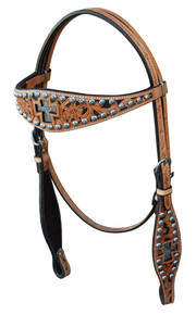 Western Natural Leather Cross Inlay Set of Headstall and Breast Collar By Aledosaddley
