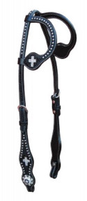 Western Black Leather Cross Inlay Set of Headstall and Breast Collar By Aledosaddley