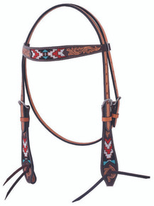 Western Natural Leather Beaded Inlay  Set of Headstall and Breast Collar By Aledosaddley