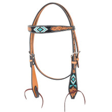 Western Natural Leather Hand Carved Headstall /Spur Strap & Breast Collar By Aledo Saddlery