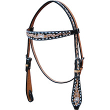 Western Natural Leather Hand Carved Bucstitched Headstall /Spur Strap & Breast Collar with Beaded Inlay By Aledo Saddlery