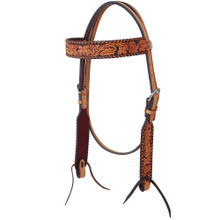 Western Brown Leather Hand Carved Braided Headstall/Noseband  &  Breast Collar with Fringes By Aledo Saddlery